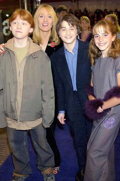 The Trio with J.K. Rowling at the first movie premier.