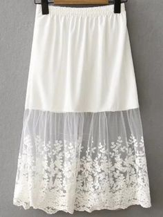 SheIn offers White Lace Insert Midi Skirt & more to fit your fashionable needs. SheIn offers White Lace Insert Midi Skirt & more to fit your fashionable needs. Lace Dress Extender, Shirt Extender, Skirt Fashion, Boho Fashion, Vintage Fashion, Fashion Quiz, Fashion Top, Fashion Trends, White Skirt Outfits