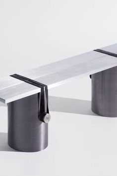 The designer Johan Viladrich reveals the details and connections of the furniture he designs | French design | French designer | Johan Viladrich | product design | industrial design | 2018 design news | 2018 design trends | ToolsGalerie Paris | metal bench | metal shelf | metal table | blue table | blue glass furniture | metal furniture set | furniture binding elements | furniture assembly | French gallery | metal home decor | industrial designer | brutalism | architectural design…