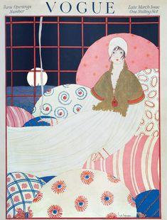 art vintage A Vintage Vogue Magazine Cover Of A Woman Art Print by Georges Lepape Illustration Art Nouveau, Illustration Mode, Illustration Fashion, Art Deco Posters, Poster Prints, Art Prints, Art Vintage, Vintage Posters, Vintage Prints