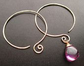 ON SALE Interchangeable Earrings - LARGE Curled Hoop - Hammered Earrings for charms Sterling, Gold Filled, Oxidized Silver, Rose Gold Free D...by Unique Kreations