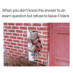 When you don't know the answer to an exam question but refuse to leave it blank