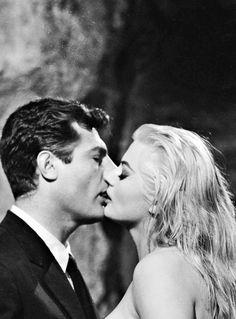 "Marcello Mastroianni and Anita Ekberg in ""La Dolce Vita"", 1960 [Federico Fellini] Marcello Mastroianni, Anita Ekberg, Beau Film, Julie Newmar, Cinema Film, Cinema Movies, Great Films, Good Movies, Classic Hollywood"