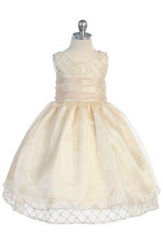 Gold Beaded Lined Organza  Flower Girl Dress  - K291 K291-GD $52.95 on www.GirlsDressLine.Com