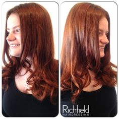 """Georgia's beautiful """"do"""" has been coloured by Cerise and cut and styled by Jess.    The wonderful warm, rich auburn tones look absolutely stunning and are a perfect colour choice for Georgia's skin tone.     Using the salon only straightening and defrizz cream along with a large round brush, Jess was able to add body and bounce to this lovey layered haircut."""