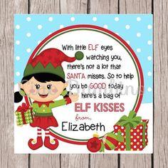 Elf kisses holiday favor tags printable christmas by ciaobambino