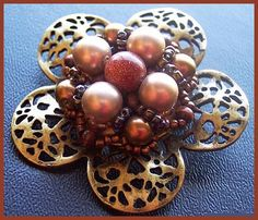 """Vintage Brooch Pin w Copper & Sun Stone Glass Beads Domed Tiered Gold Metal 2"""" CIJ Sale. $24.50, via Etsy."""