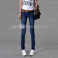 Zian® Women's Casual Fashion Double Ways of Wearing Solid Color Slim Pencil Jeans   LightInTheBox