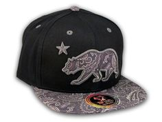 ★ This is a High Quality Paisley California Republic Bear on Black Baseball Snapback Cap! It's an adjustable Snapback with Flat Brim Visor, from Top Level. It has California Republic Bear in 3D Embroidered Stitching on Brown Paisley Pattern with Star! Underside of bill is the same Paisley Pattern. Back has a California Bear and Star in Raised Gray Stitching! [$12.97]