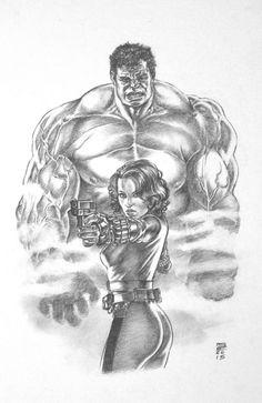 #Hulk #Fan #Art. (Black Widow and The Hulk) By: GeneEspy. (THE * 5 * STÅR * ÅWARD * OF: * AW YEAH, IT'S MAJOR ÅWESOMENESS!!!™)[THANK Ü 4 PINNING<·><]<©>ÅÅÅ+(OB4E)