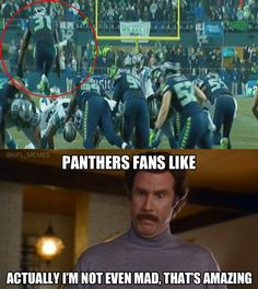 tbh i hate the panthers and the seahawks (besides russell wilson bc badgers) but yes will ferrell; that's amazing. Nfl Jokes, Funny Football Memes, Funny Nfl, Funny Sports Memes, Sports Humor, Funny Games, Seahawks Memes, Seahawks Fans, Seahawks Football