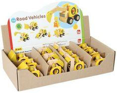 Display Baustellenfahrzeuge, für Kindergarten, 3 x Radlader, 3 x Walze, 3 x Bagger, 3 x Gabelstapler