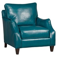 Upholstered in rich teal-hued leather, this classic arm chair brings a luxe touch to your living room or den.   Product: Chair