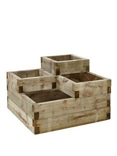 FOREST Tiiered Raised Bed Plant a range of different things side by side with this Forest Tiered Raised Bed. This sturdy raised bed has multiple sections and holds a generous 270 litres of compost so you can plant different flora in each one, incl Outdoor Projects, Garden Projects, Wood Projects, Garden Boxes, Garden Planters, Raised Planter Boxes, Diy Planters Outdoor, Pallet Planter Box, Patio Plants