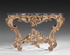 Nicolas HEURTAUT (estampillé) Console de forme chantournée Vers 1750-1775 Bois doré et marbre 85 x 128 x 70,5 cm