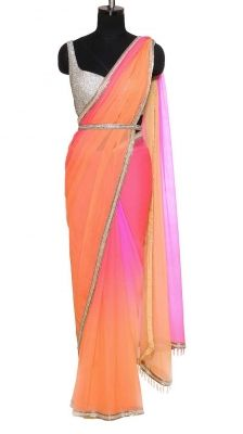 Multi-coloured Chiffon Saree   Strandofsilk.com - Indian Designers