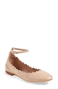 Chloé+Scalloped+Ankle+Strap+Flat+(Women)+available+at+#Nordstrom