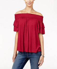 INC International Concepts Ruffle-Sleeve Off-The-Shoulder Top, Only at Macy's | macys.com