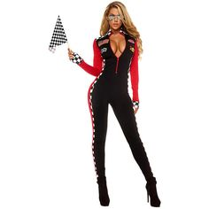 Womens Plunging Neck Racer Halloween Catsuit Costume Black ($39) ❤ liked on Polyvore featuring costumes, black, sexy ladies halloween costumes, sports halloween costumes, sexy lady costumes, sport costumes and sports costumes