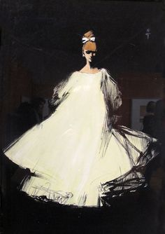 Rene Gruau illustration for Diorling, Christian Dior's new perfume launched in 1963.