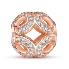 Glamulet 925 Sterling Silver Rose Gold Crystal Swirls Charm Fits Pandora Chamilia