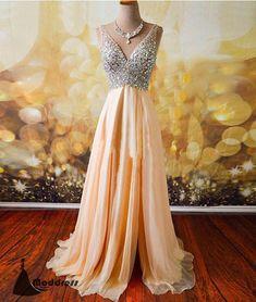 Beading V-Neck Long Prom Dress A-Line High Slit Backless Evening Dress Formal Dress,HS475 #fashion#promdress#eveningdress#promgowns#cocktaildress