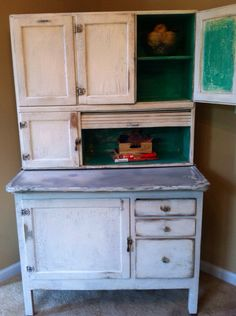 Hoosier Cabinet White Teal 1900's Cabinet by AntiquedPearl on Etsy, $750.00