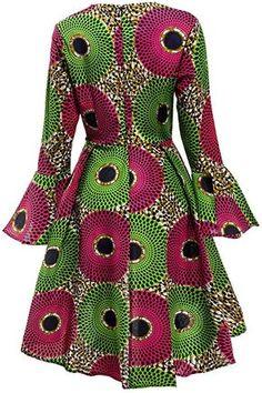 Shenbolen Women African Print Dresses Autumn and Winter Long Sleeves Ankara Dress African Fashion Ankara, Latest African Fashion Dresses, African Print Fashion, African Print Dress Designs, African Print Dresses, African Dress, African Attire, African Wear, Ankara Long Gown Styles