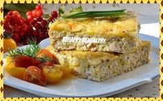 Easy chicken pie Calories 100 g - 130 kcal INGREDIENTS: - Cooked chicken - 300g - Flour - 50 g - Egg (medium-sized) - 2 pieces - Milk - 150 g - Cheese low fat - 50g - 1/2 tsp baking powder - Seasoning (black pepper, curry, Italian herb) - to taste RECIPE: 1) Chicken chop finely. 2) Beat the eggs with salt and milk, add flour, baking powder and spices, so it turns into dough. Mix dough with chicken and grated cheese. Stir well and we shift into a baking dish.