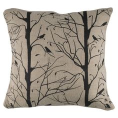 Jute-cotton pillow with a black bird motif.  Product: PillowConstruction Material: Cotton, jute, and polyester f...