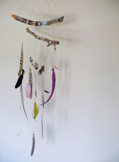 painted wood hangers - feathers. especially good if you collect feathers :-)