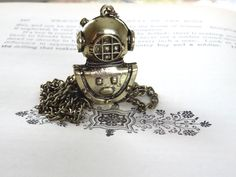 Deep Sea Diver Necklace Double Sided Diving Helmet Vintage Nautical Scuba Gear Breathing Apparatus Pendant Mens and Womens Jewelry Inv0023 by PeculiarCollective on Etsy