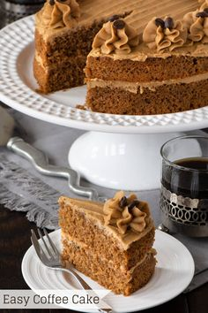 coffee cake Easy Coffee Cake - A delicious all-in-one coffee sponge topped with smooth coffee buttercream. Simple to make and packed full of flavour. PLUS - Howto make this cake in any size of round, square or rectangular tin. Coffee And Walnut Cake, Apple Coffee Cakes, Sour Cream Coffee Cake, Espresso Cake, Coffee Sponge Cake, Coffee Cale, Bunn Coffee, Sponge Cake Recipes, Easy Cake Recipes