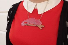 Chameleon Necklace, Laser Cut Acrylic Necklace by hello DODO X designosaur