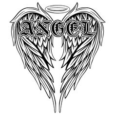 Abstract Vector Illustration Black And White Wings And Inscription Angel In The Gothic Style. Design For Tattoo Or Print T-shirt . Royalty Free Cliparts, Vectors, And Stock Illustration. Image 82944645. White Wings, Gothic Fashion, Vector Art, Photo Editing, Clip Art, Stock Photos, Black And White, Abstract, Illustration