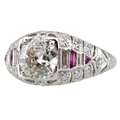 1stdibs | Art Deco Diamond and Ruby Ring