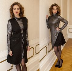 black brocade vest Fall Winter, Autumn, Goth, Vest, Dresses With Sleeves, Long Sleeve, Creative, Black, Style