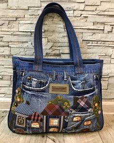 J Bag, Tote Bag, Denim And Diamonds, Patterned Jeans, Denim Ideas, Recycled Denim, Denim Bag, Clothes Crafts, Balenciaga City Bag