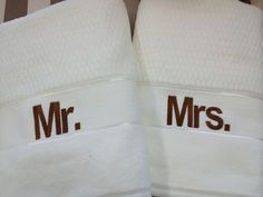 Mr. and Mrs. towels.