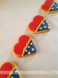 Wonder Woman heart shaped cookies!