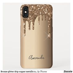 Bronze glitter drip copper metallic name iPhone XS max case Glitter Phone Cases, Drip Painting, Copper Metal, Plastic Case, Iphone Case Covers, Gifts For Mom, Apple Iphone, Christmas Gifts, Metallic
