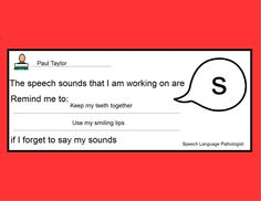 Speech Sound Reminder-easy, simple way SLPs can remind teachers and parents what sound their child is working on and what they can do to help. From Adventures in Speech Pathology. Pinned by SOS Inc. Resources @sostherapy.