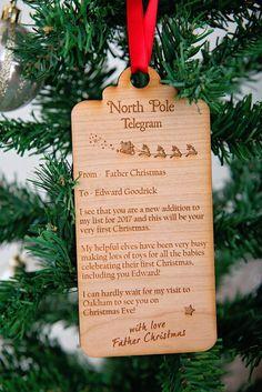 Babies 1st Christmas 'Telegram' tree decoration keepsake