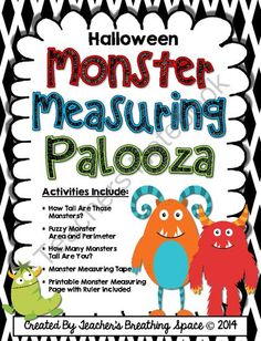 Halloween Measuring --- Monster Measuring Palooza --- Halloween Math Centers from Teacher's Breathing Space on TeachersNotebook.com -  (24 pages)  - Halloween Measuring --- Monster Measuring Palooza --- Halloween Math Centers