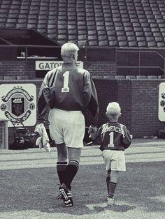 Peter Schmeichel (then United) + Kasper Schmeichel (today Leicester)
