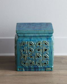 Vintage Ceramic Garden Stool at Horchow. 13 sq x 13.5T