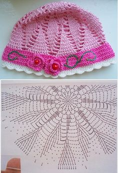 Crochet Diagram, Crochet Chart, Crochet Beanie Hat, Beanie Hats, Baby Blanket Crochet, Crochet Baby, Sombrero A Crochet, Summer Hats, Beanie Babies