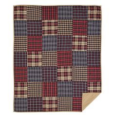 Austin - Twin - Patchwork Quilt - Country/Traditional Plaids - Red, Black, Tan - Ashton & Willow