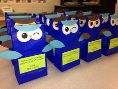 Owl goody bags for meet the teacher night.