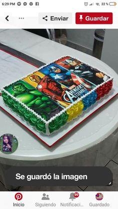 Obleas para impresión Avengers Birthday Cakes, Superhero Birthday Cake, Superhero Party, Batman Party, Pastel Avengers, Avenger Cake, 4th Birthday Parties, 5th Birthday, Birthday Ideas